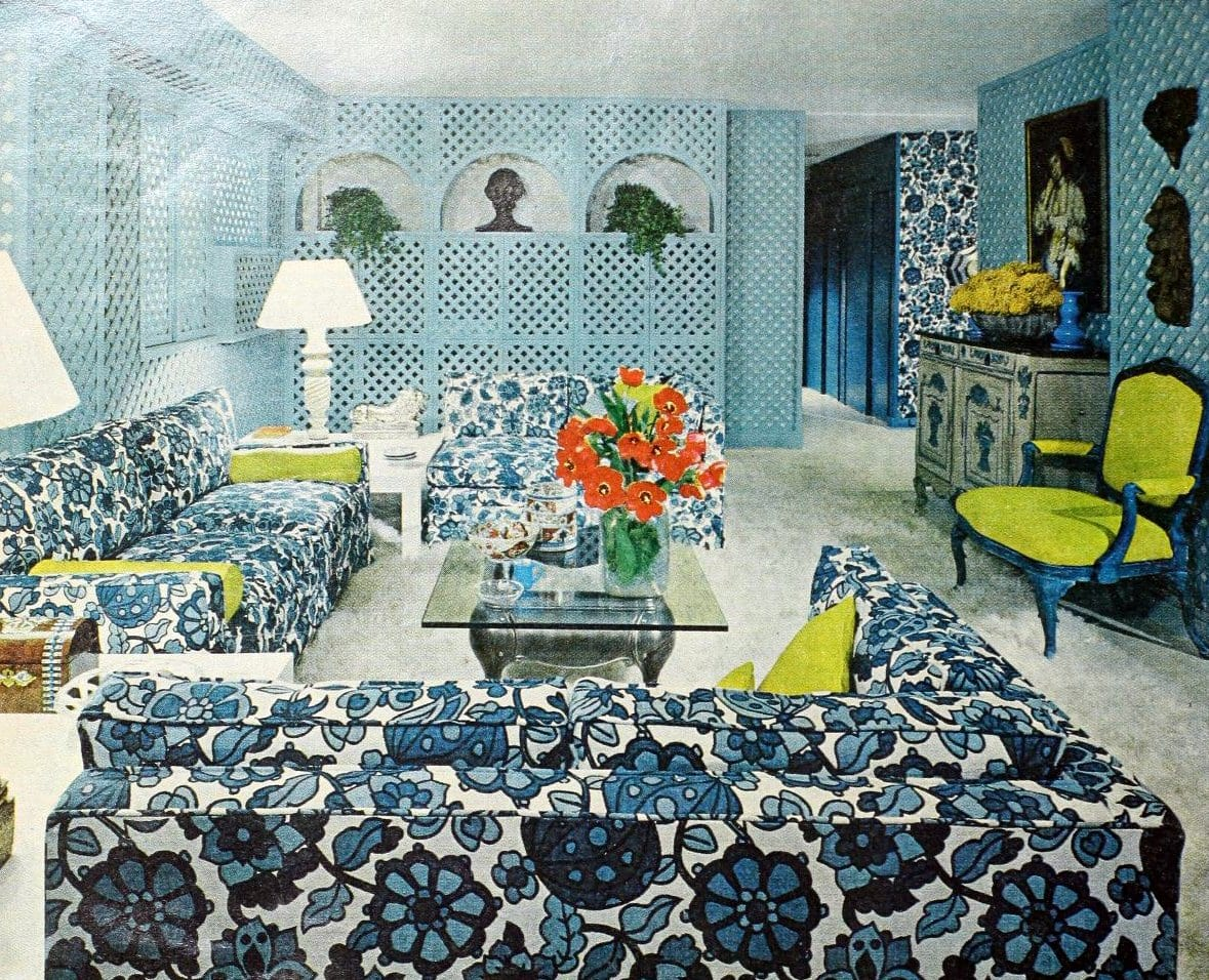 Blue 1960s living room decor