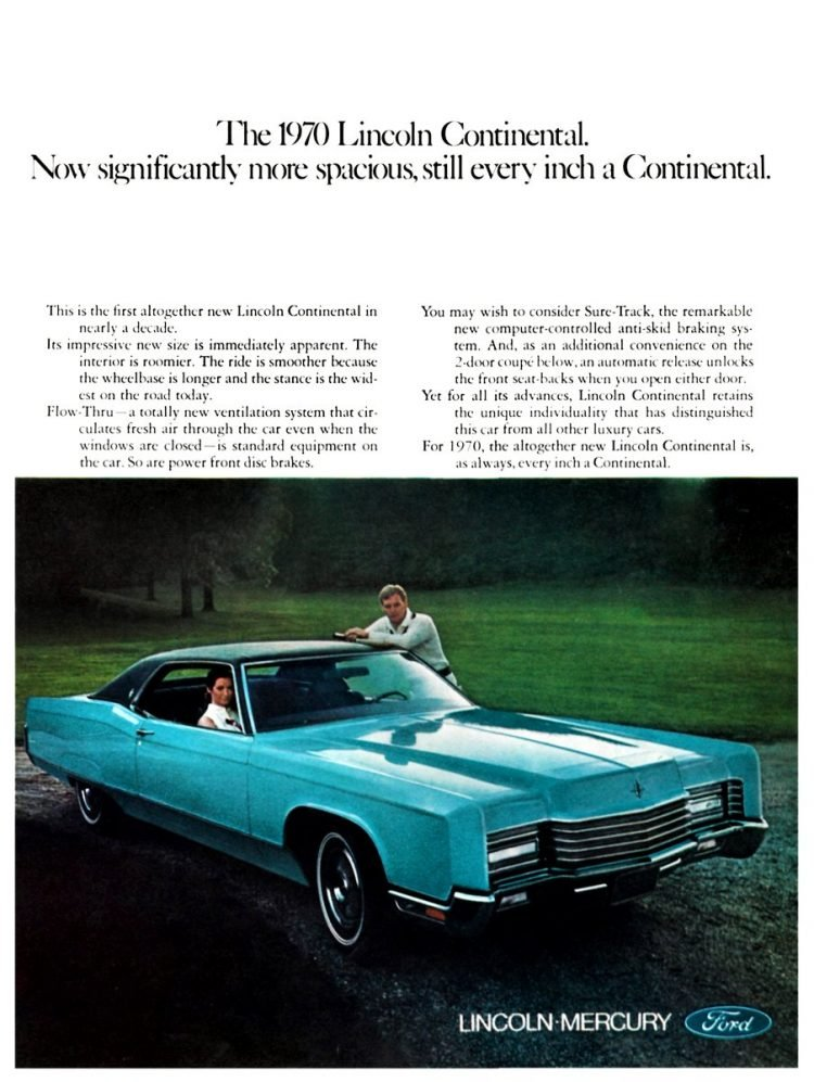 Blue 1970 Lincoln Continental vintage car ad