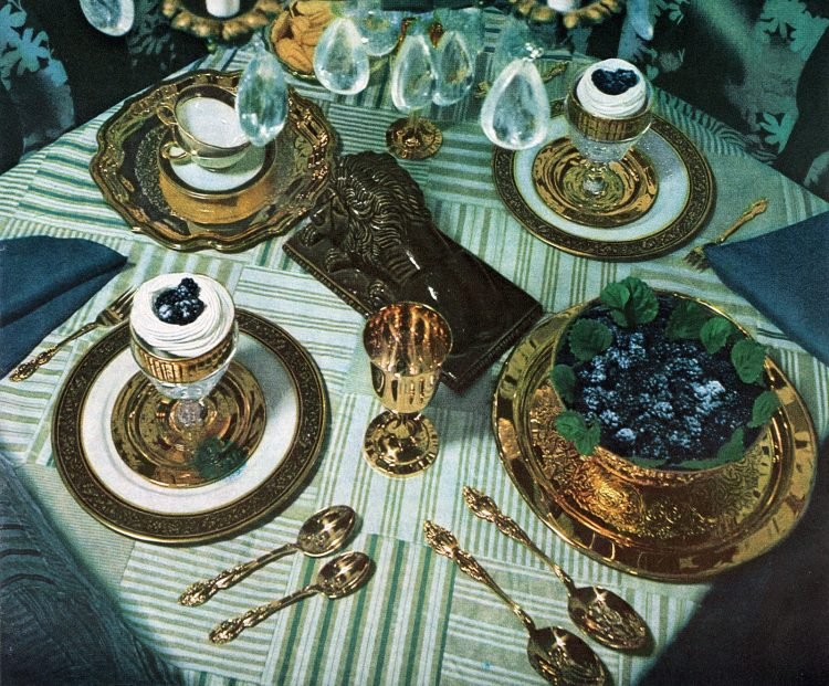 Blue Christmas table decor from 1969