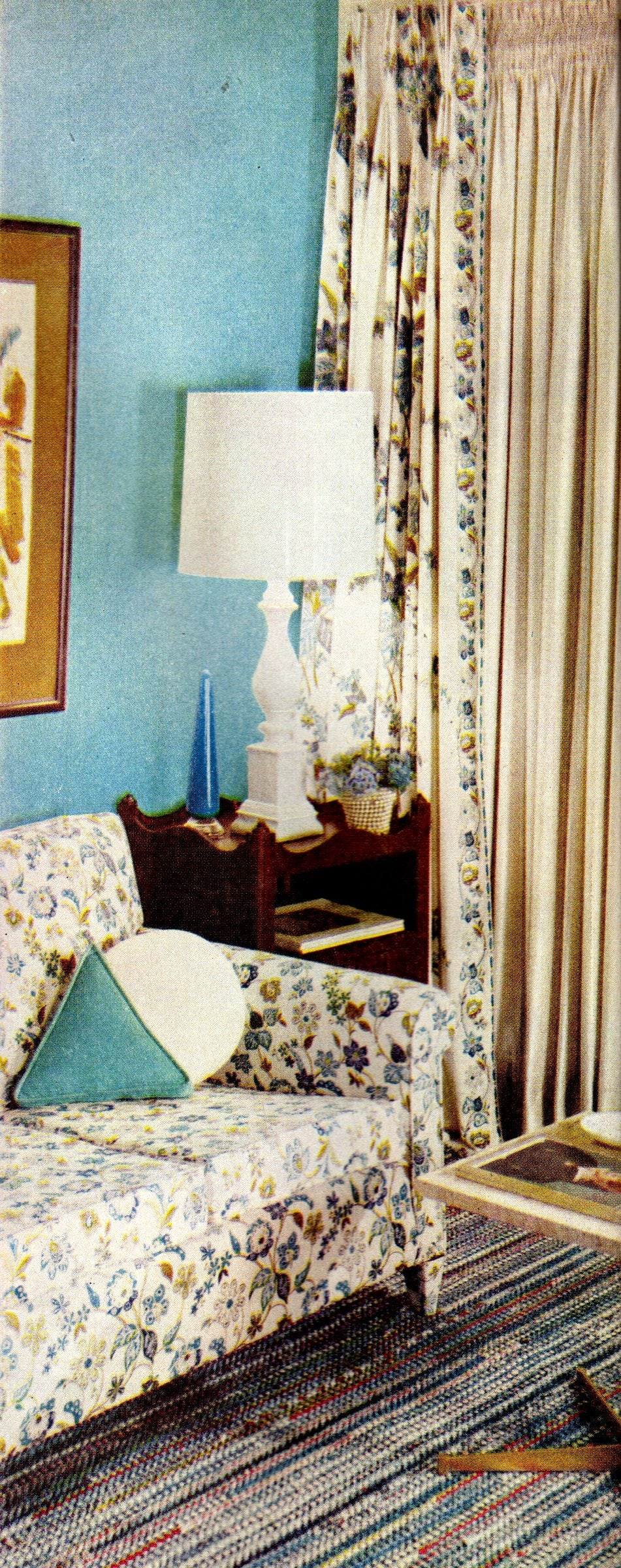 Blue and cream living room decor from the late 50s
