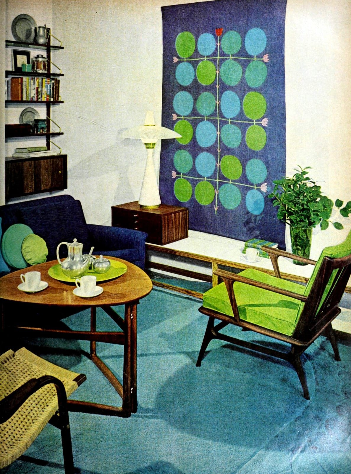 Blue and green midcentury modern living room color scheme (1958)