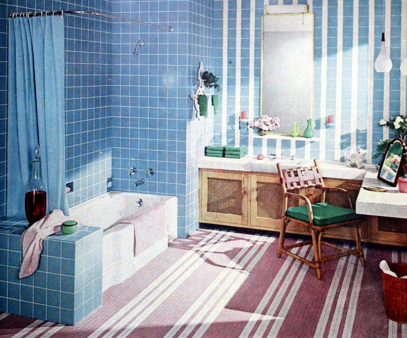 Blue and pink tiled bathroom decorating from the late fifties