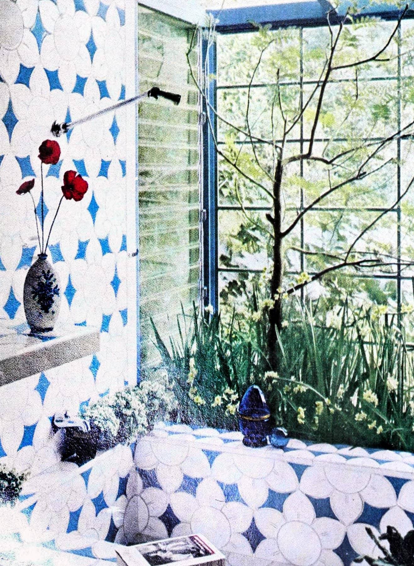 Blue and white tile based on an Eszter Haraszty stylized poppy design (1966)