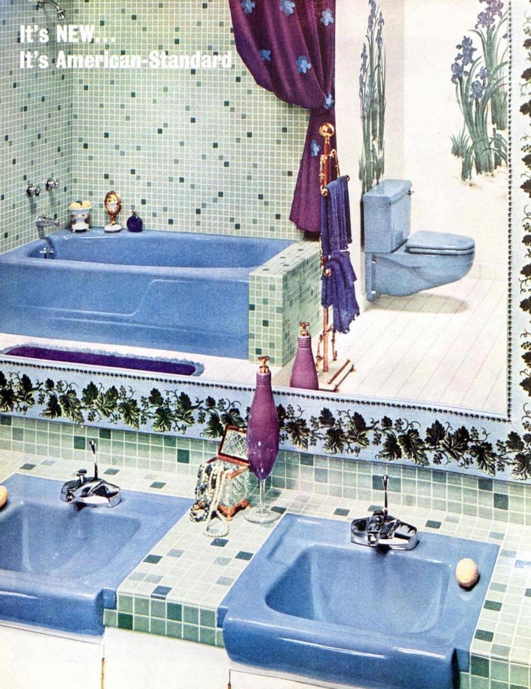 Blue bathroom fixtures from 1960