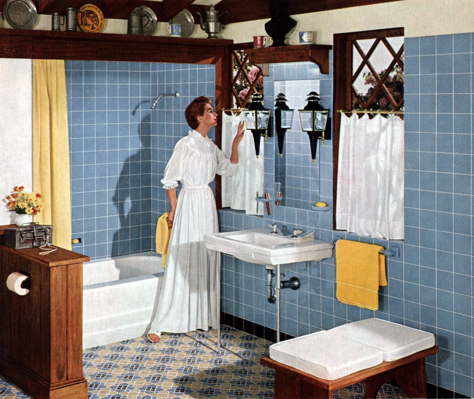 Blue bathroom tile styles from 1955
