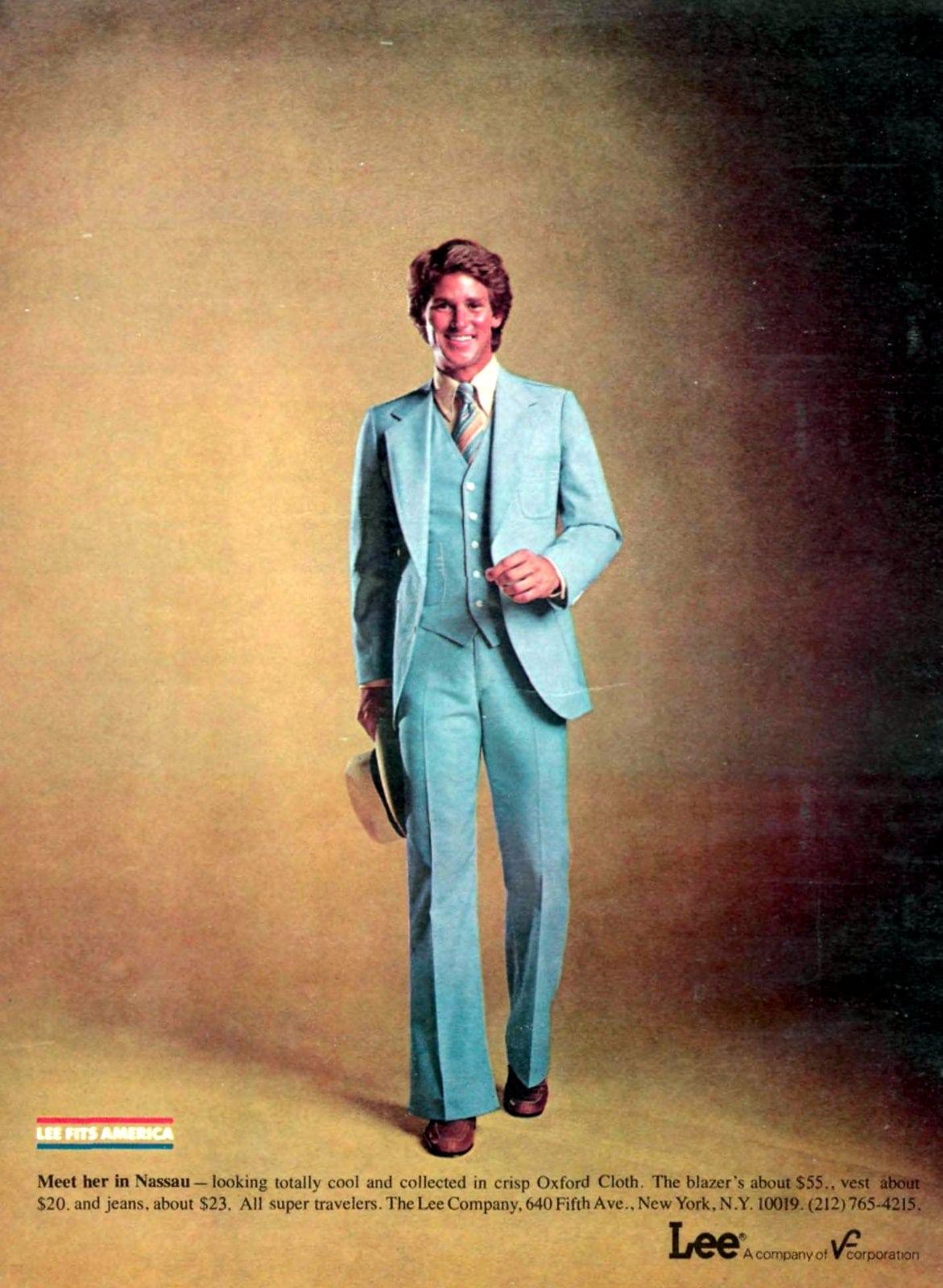 Blue casual Lee suit for men (1979)