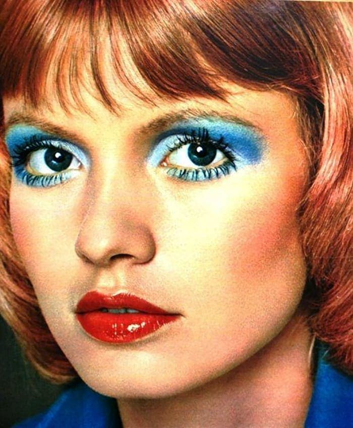 Retro looks with blue eyeshadow from the 1970s