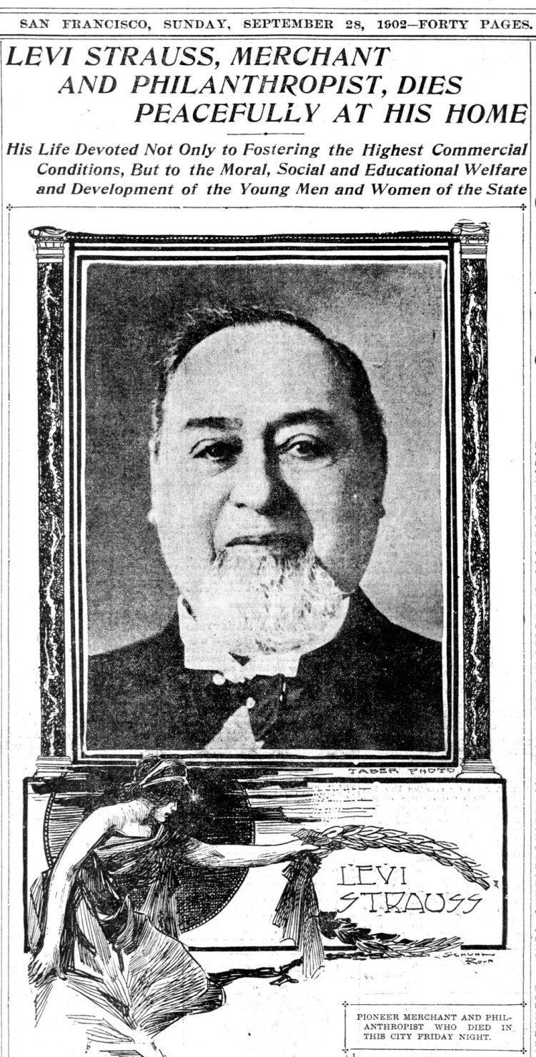 Blue jeans inventor Levi Strauss died peacefully at his home back in 1902