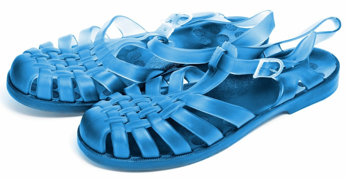 Blue jelly shoes
