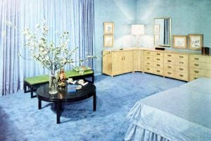 Blue master bedroom interior decor from 1954