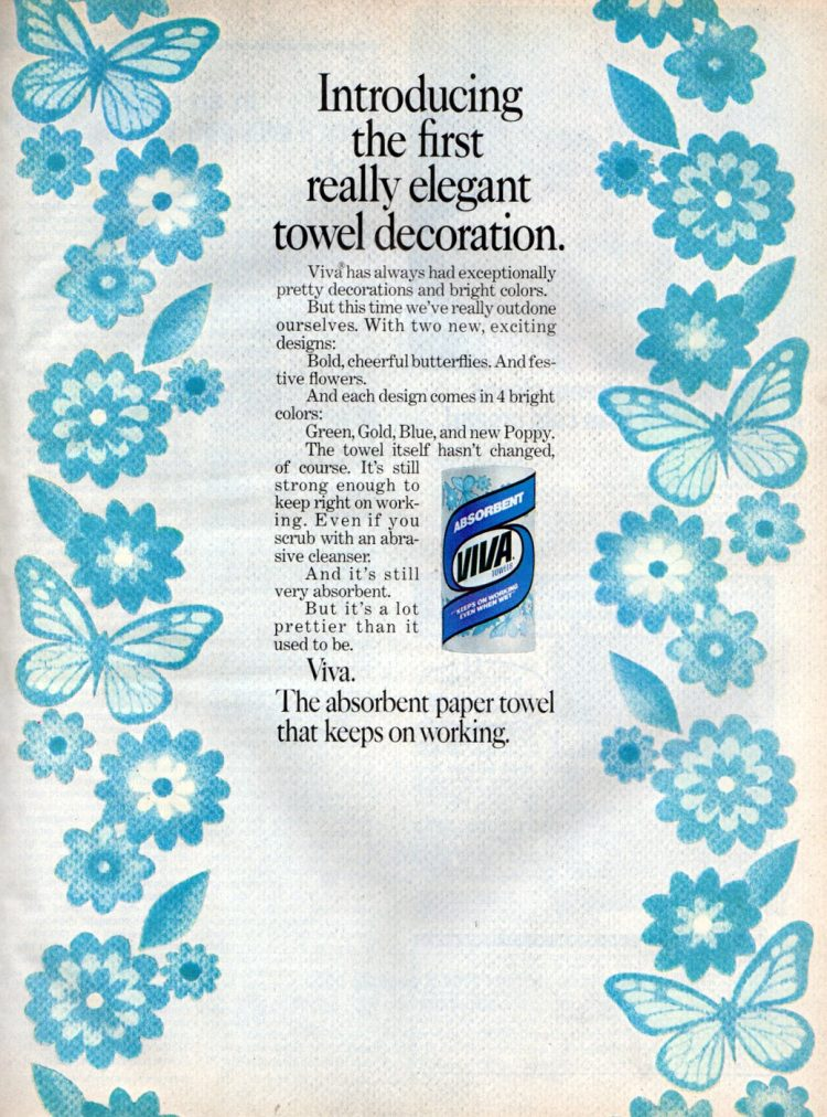 Blue patterned kitchen towels from 1972 - Viva brand