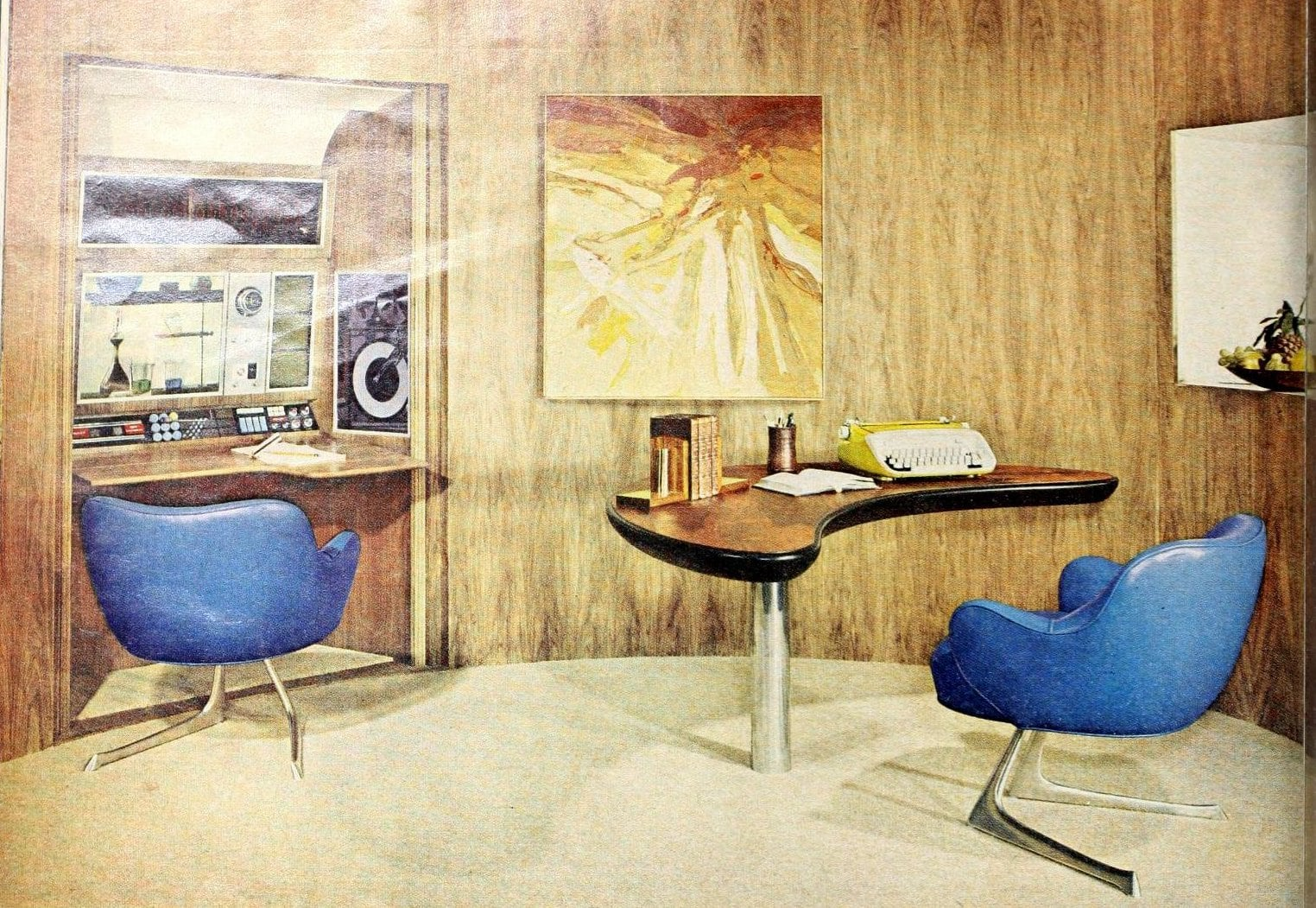 Blue pleather mid-century modern chairs in a mod vintage room with fancy electronics (1963)