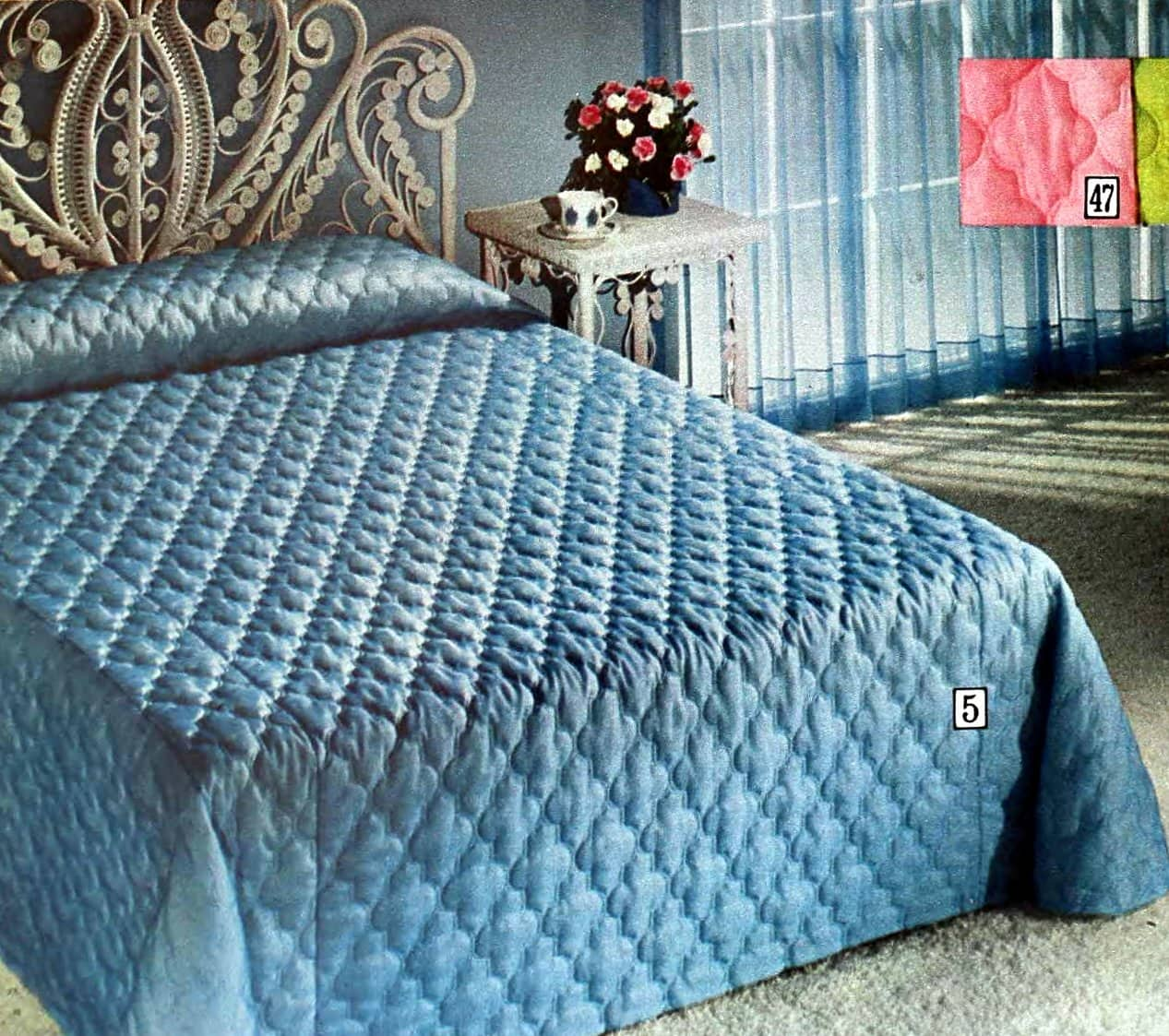 Blue polyester quilted queen-size bedspread from the seventies