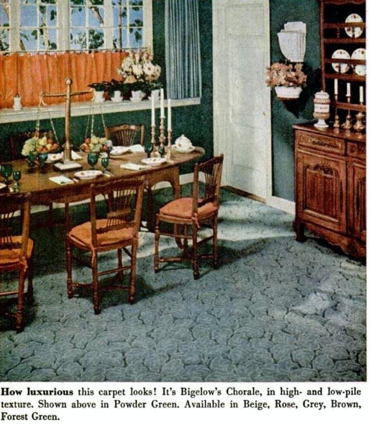 Blue sculpted dining room carpet from the 1950s