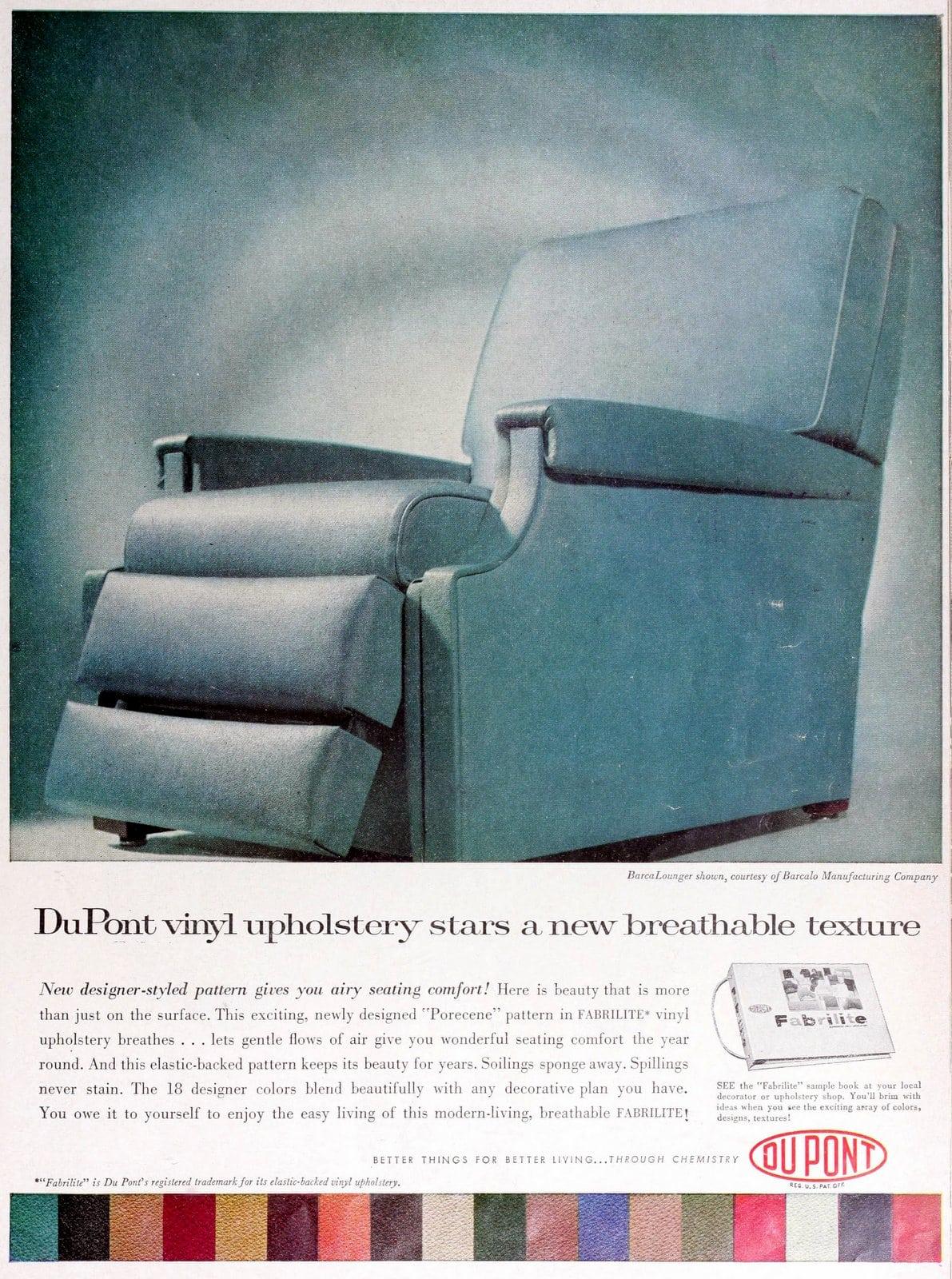 Blue vinyl BarcaLounger recliner (1960)