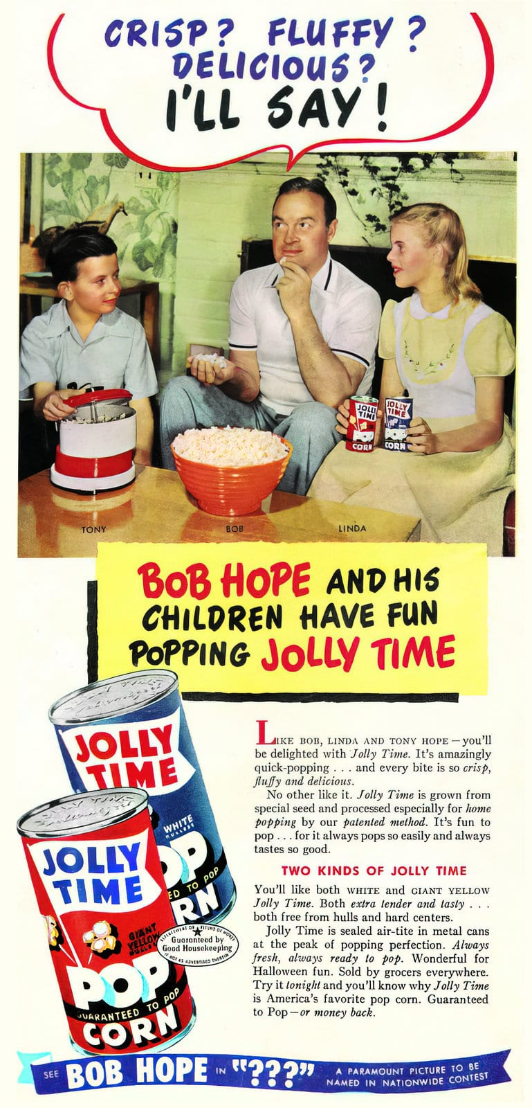 Bob Hope for Jolly Time pop corn in cans (1950s)