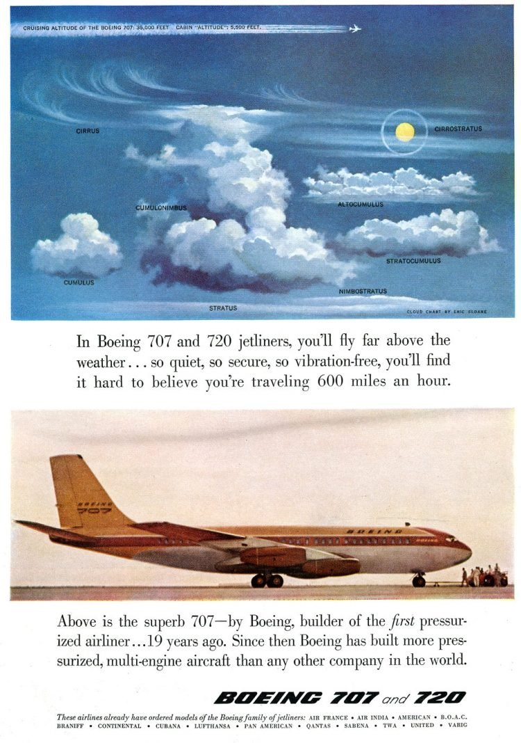 Boeing 707 and 720 jetliners - 1958