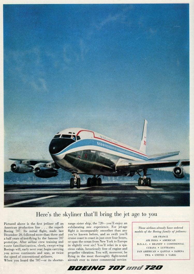 Boeing 707 jet plane 1958
