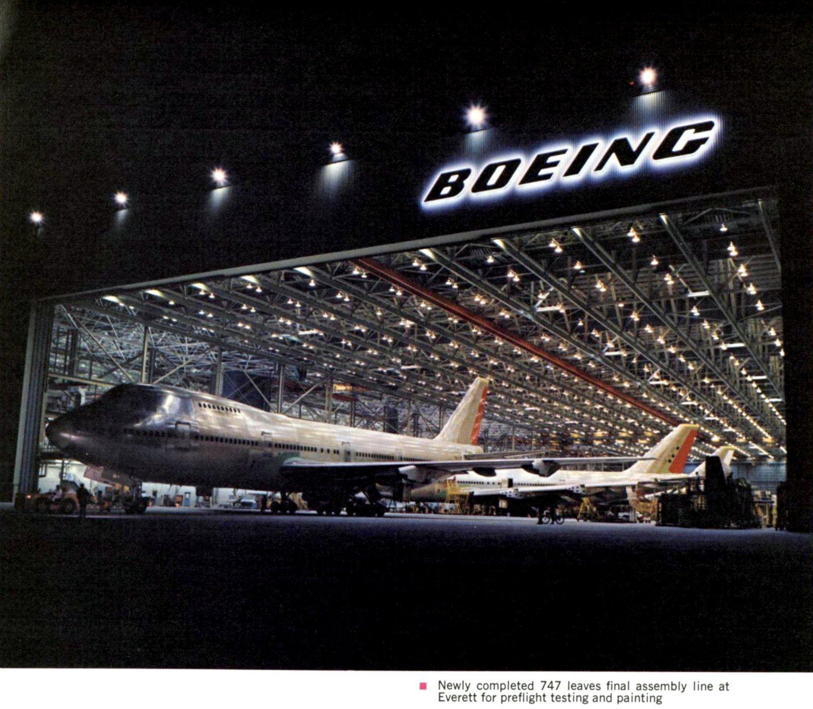 Boeing 747 jumbo jet going for final assembly (1971)
