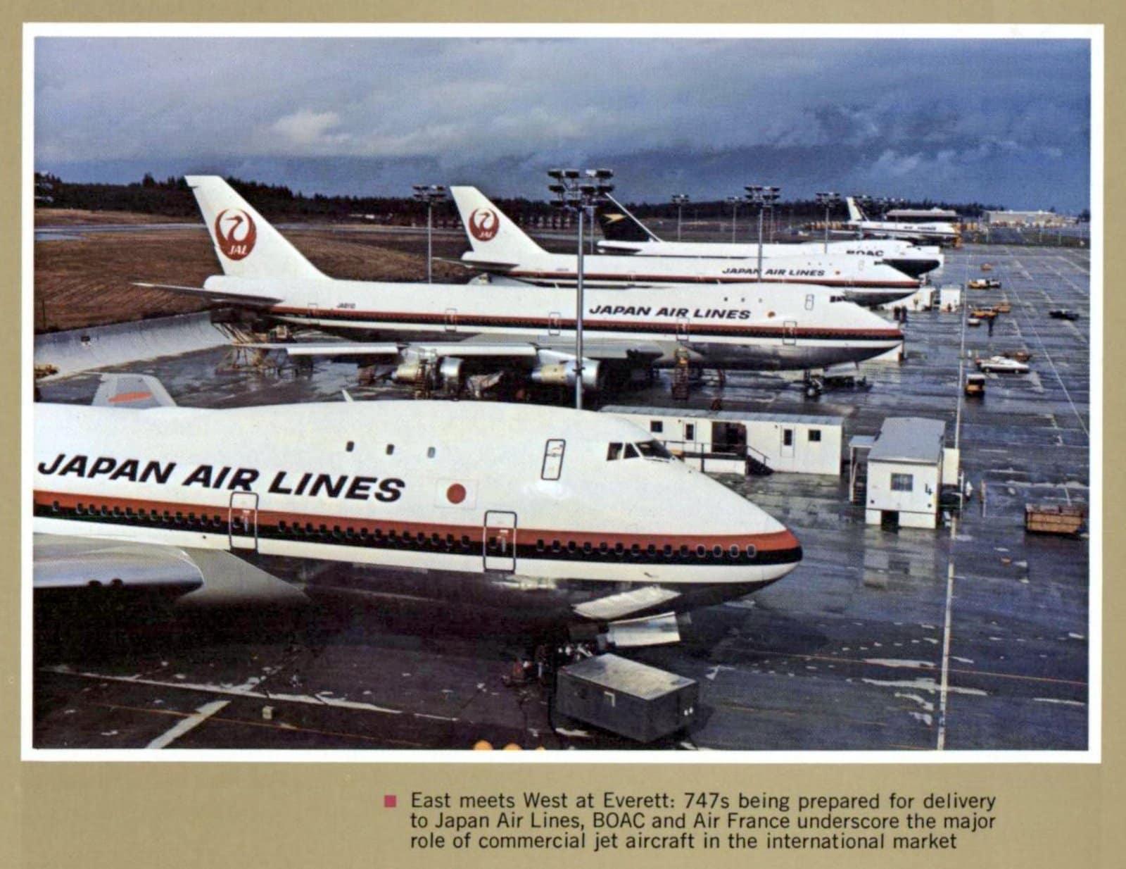 Boeing 747 jumbo jets being prepared for Japan Air Lines (1972)