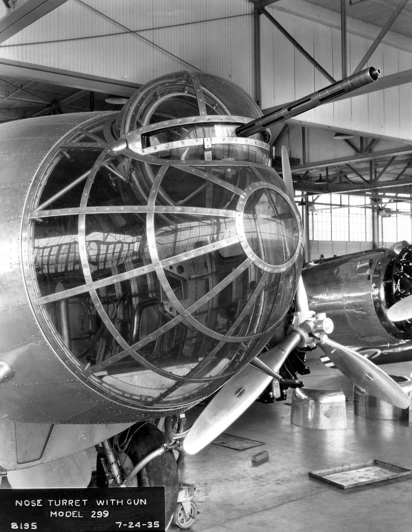 Boeing XB-17 (Model 299) nose turret with gun. (U.S. Air Force photo)