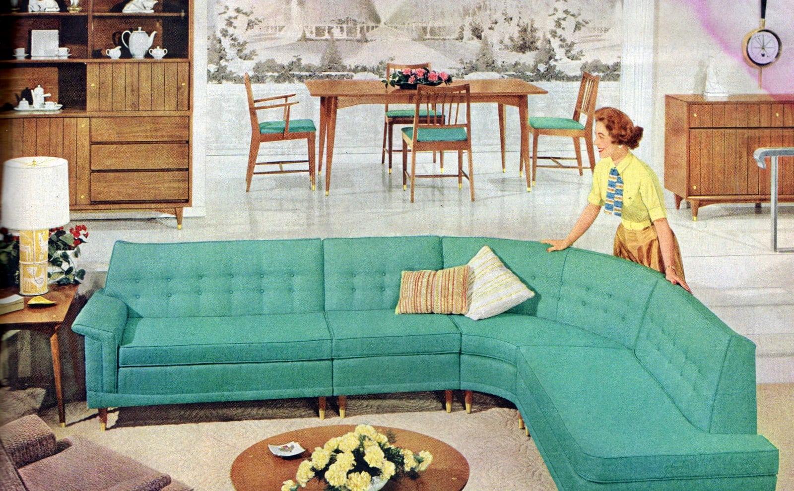 Bold aqua curved vintage 1950s sofa