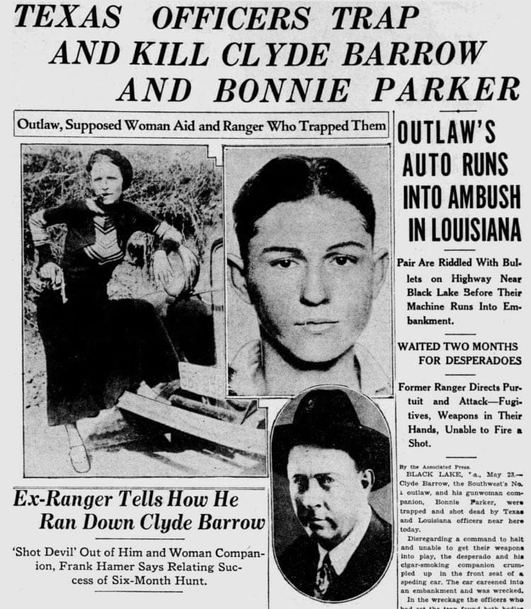 Texas officers trap and kill Bonnie and Clyde