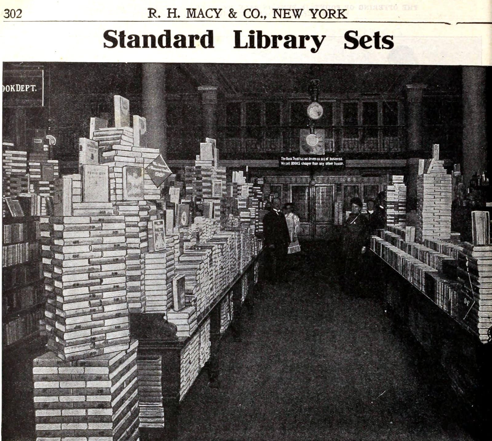 Books department at the vintage Macy's store in NYC (1900s)