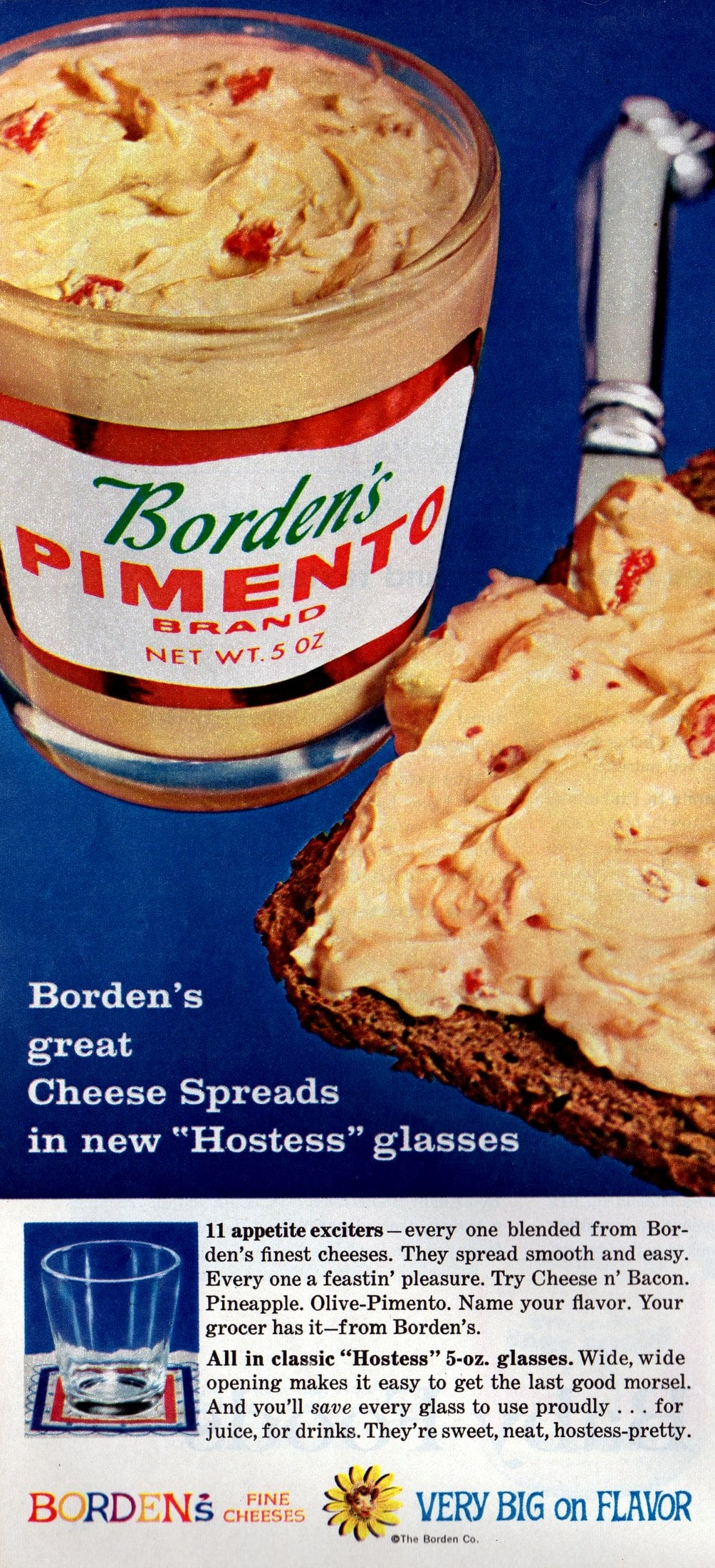 Borden's 1960s cheese spreads came in hostess glasses (1962)