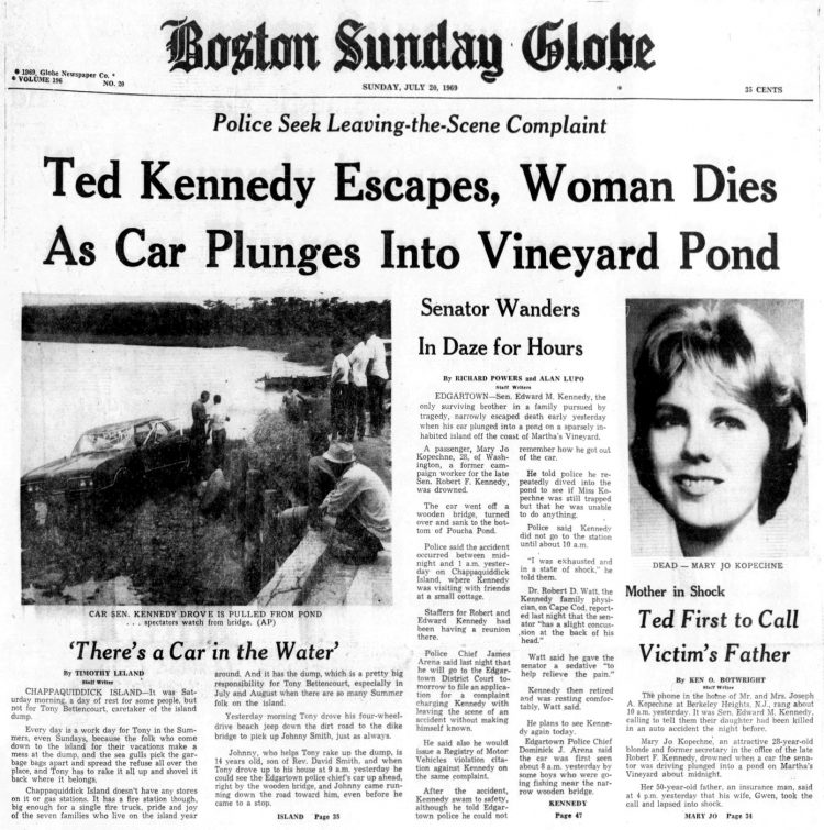 Boston Globe headline about Ted Kennedy car crash 1969