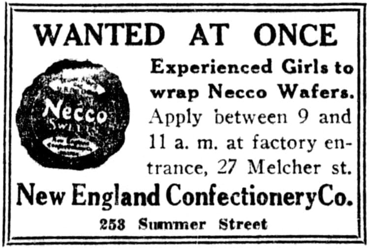 Boston Post - ad for job at Necco Wafers
