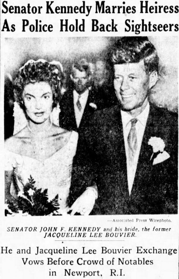Bouvier-Kennedy wedding newspaper headline (1953)