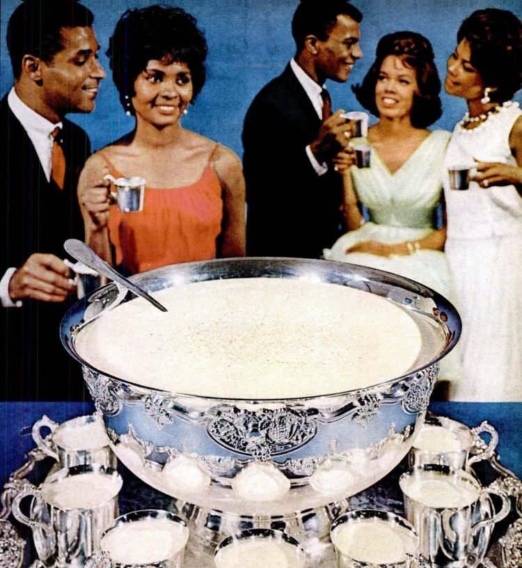 Bowl of eggnog at a Christmas party in 1968