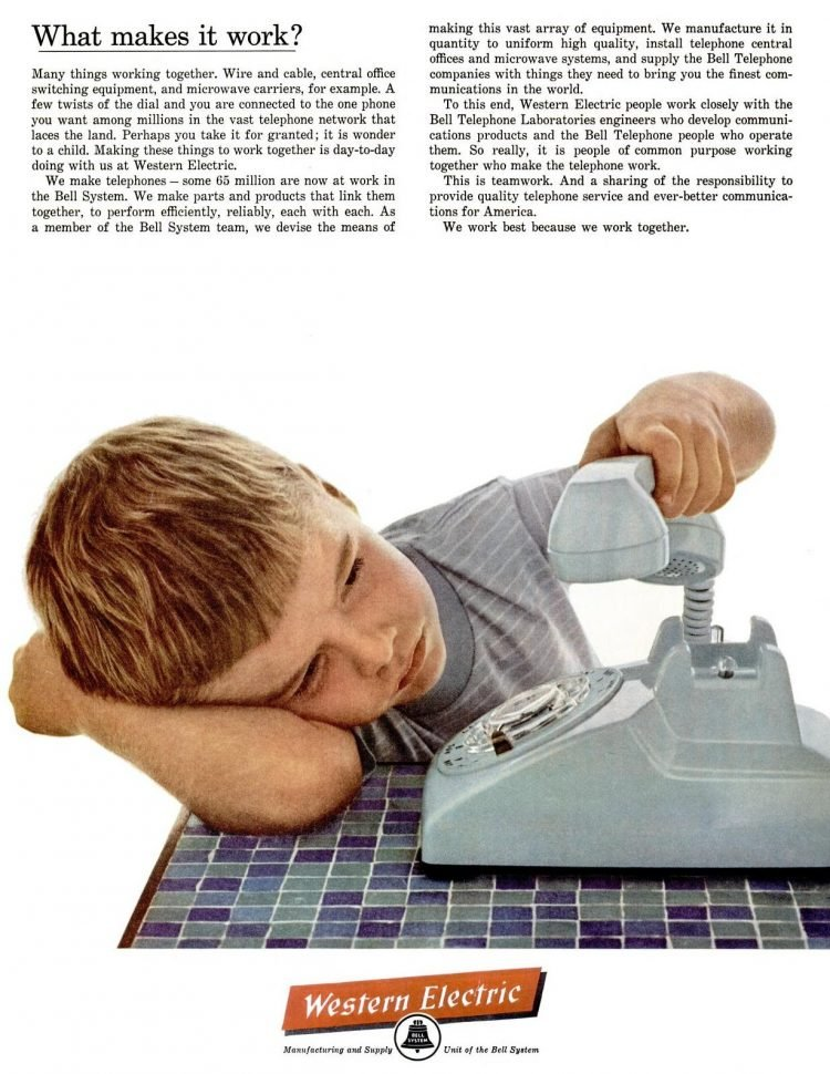 Boy looking at a vintage dial telephone - Western Electric ad from 1962