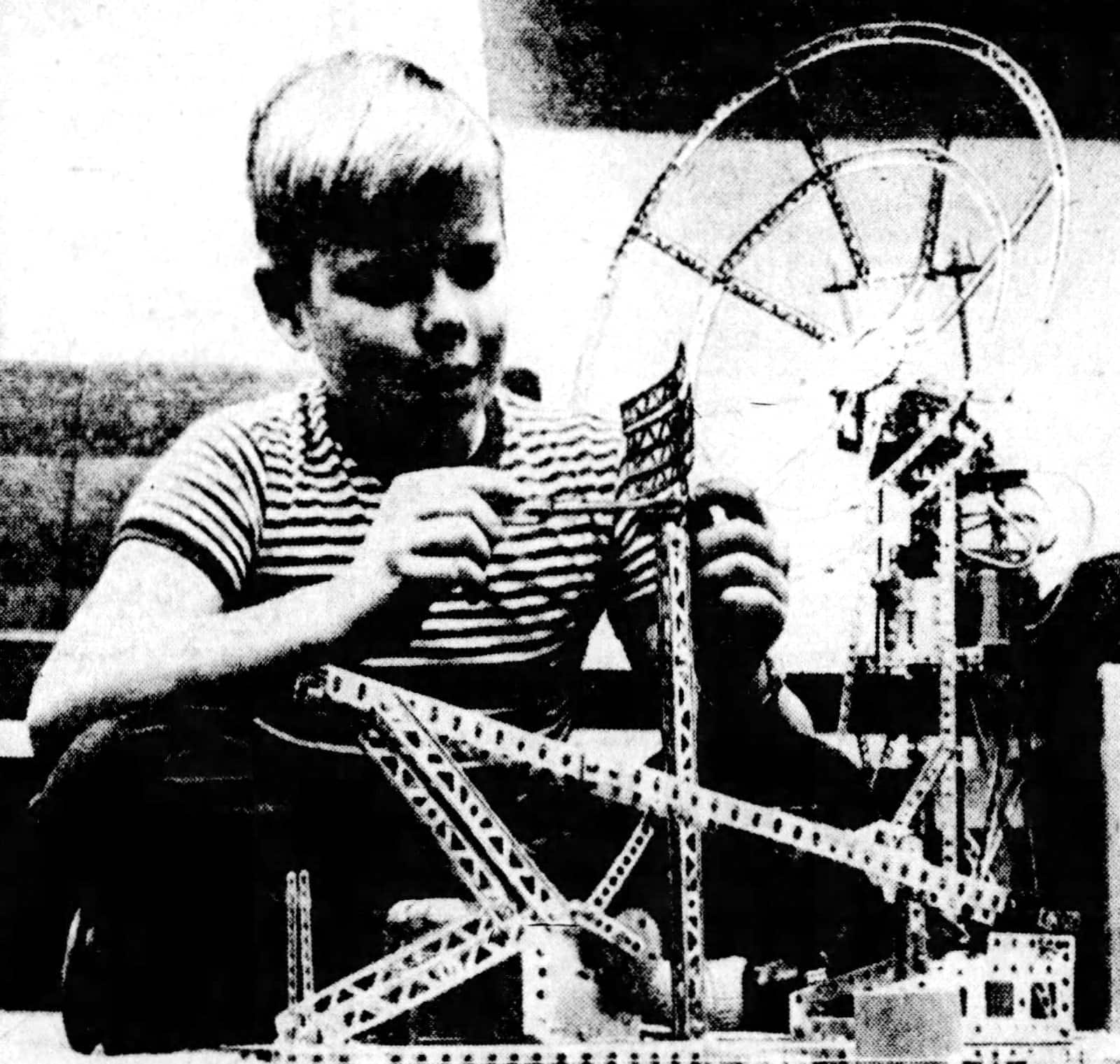 Boy playing with an erector set in 1961