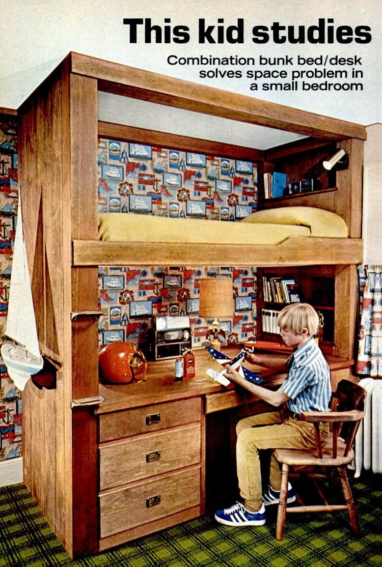 Boy's bedroom - bunk bed and desk combo (1972)