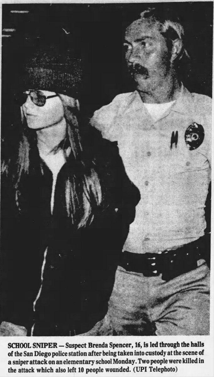 Brenda Ann Spencer taken into custody 1979