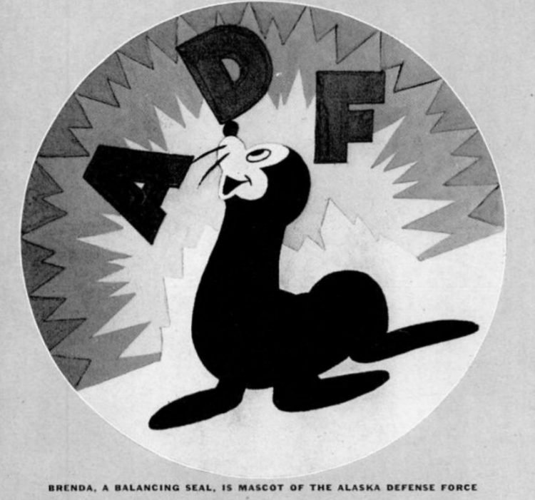 Brenda, a balancing seal, is mascot of the Alaska Defense Force