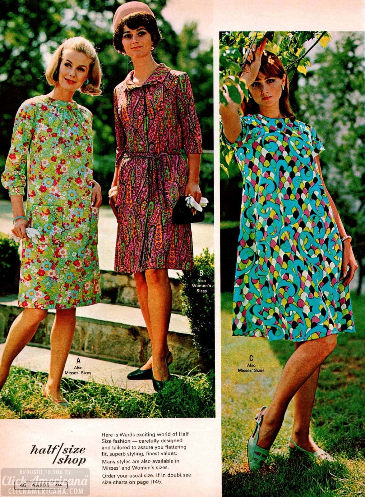 Bright and bold patterns on these super sixties-style dresses