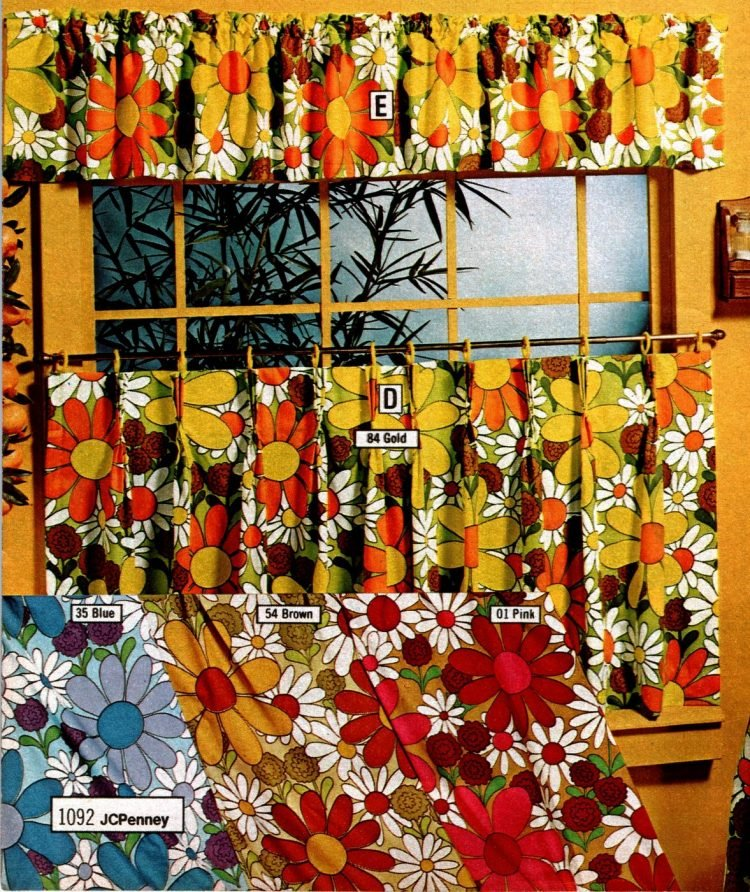 Bright and bold retro daisy print shorty and cafe curtains from 1973