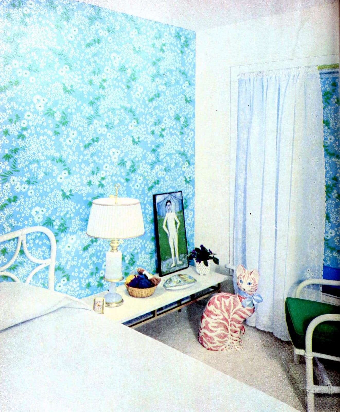 Bright blue retro floral bedroom wallpaper from the fifties
