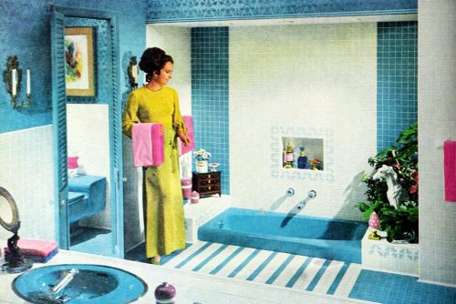 Bright blue tiled vintage 60s bathroom decor (1969)