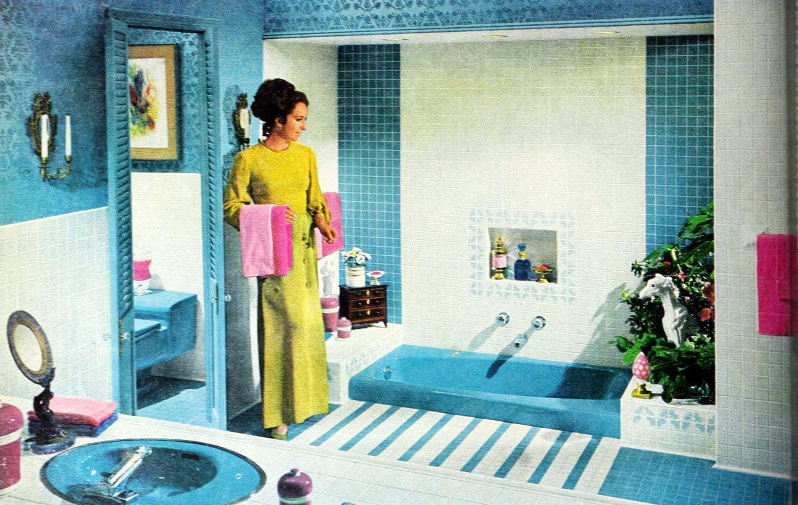 Bright blue tiled vintage 60s bathroom decor (1969)