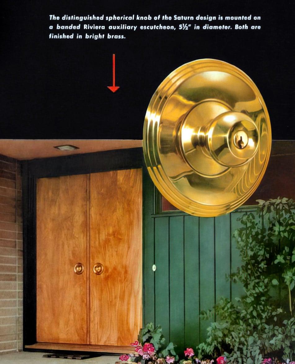 Bright brass vintage Schlage spherical Saturn design front door knob and backplate