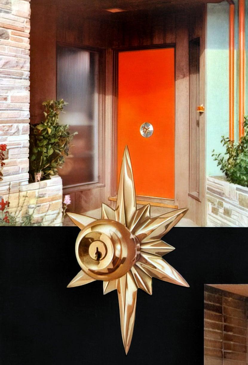 Bright bronze vintage Schlage Astra design door handle and back plate (escutcheon)