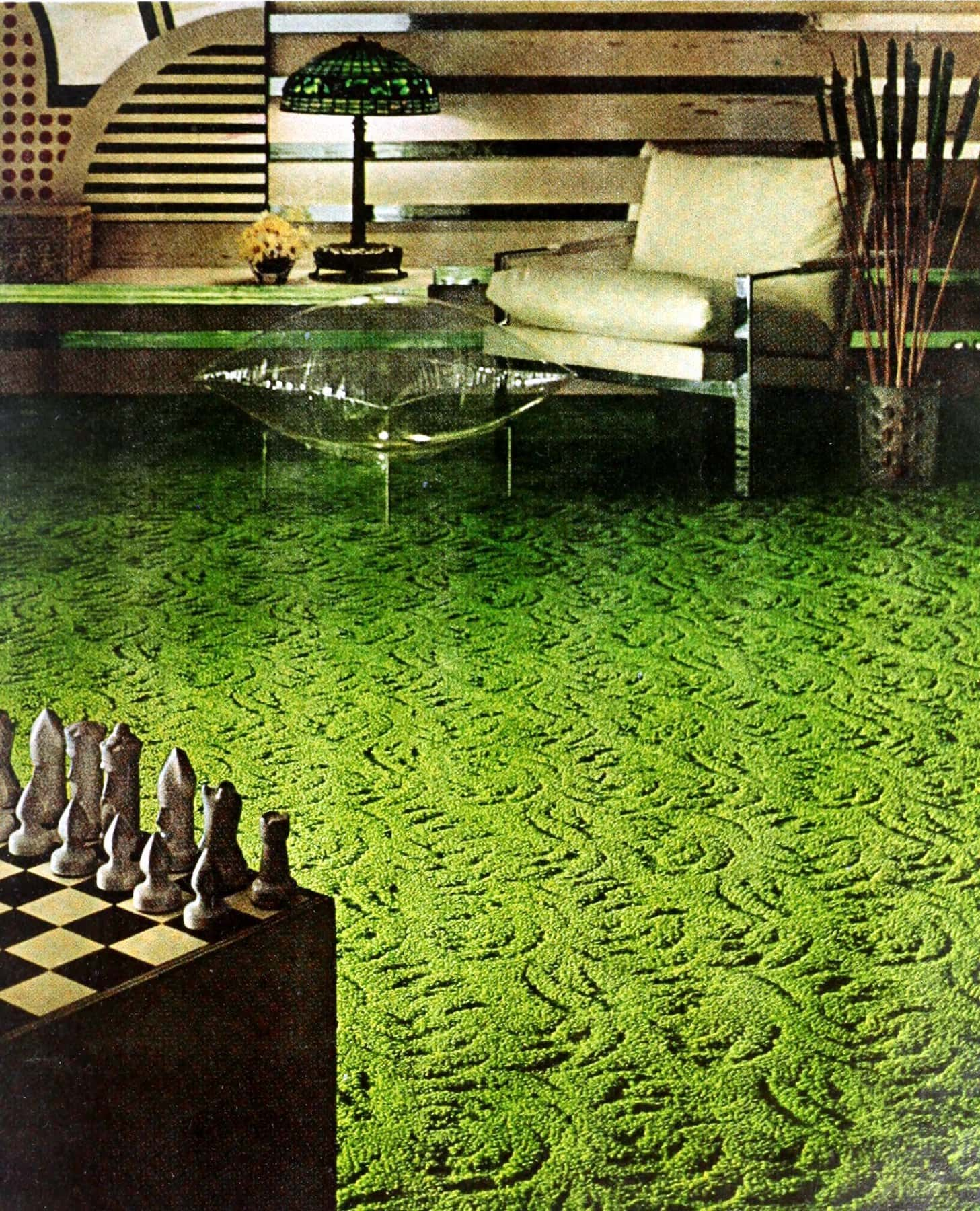 Bright green 1960s sculpted carpet in a vintage living room