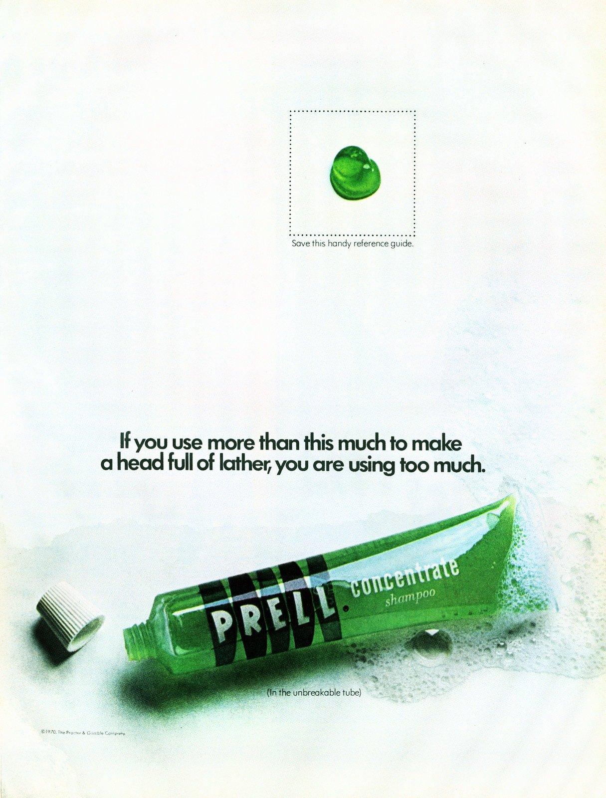 Bright green Prell shampoo (1970)