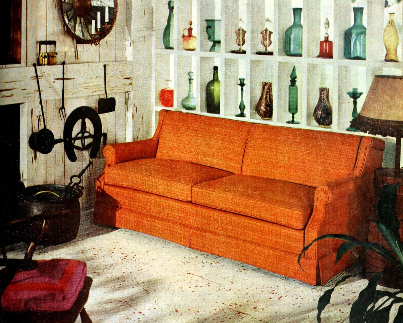 Bright orange living room sofa - Colorful vintage 1950s home decor