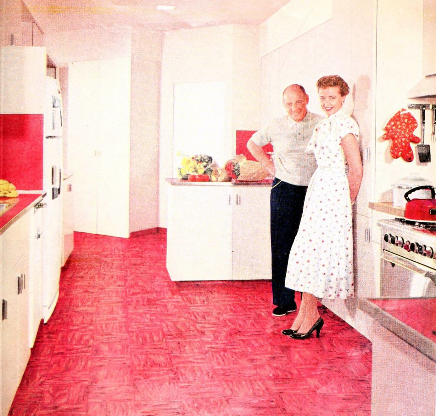 Bright pink kitchen floor with light pink walls