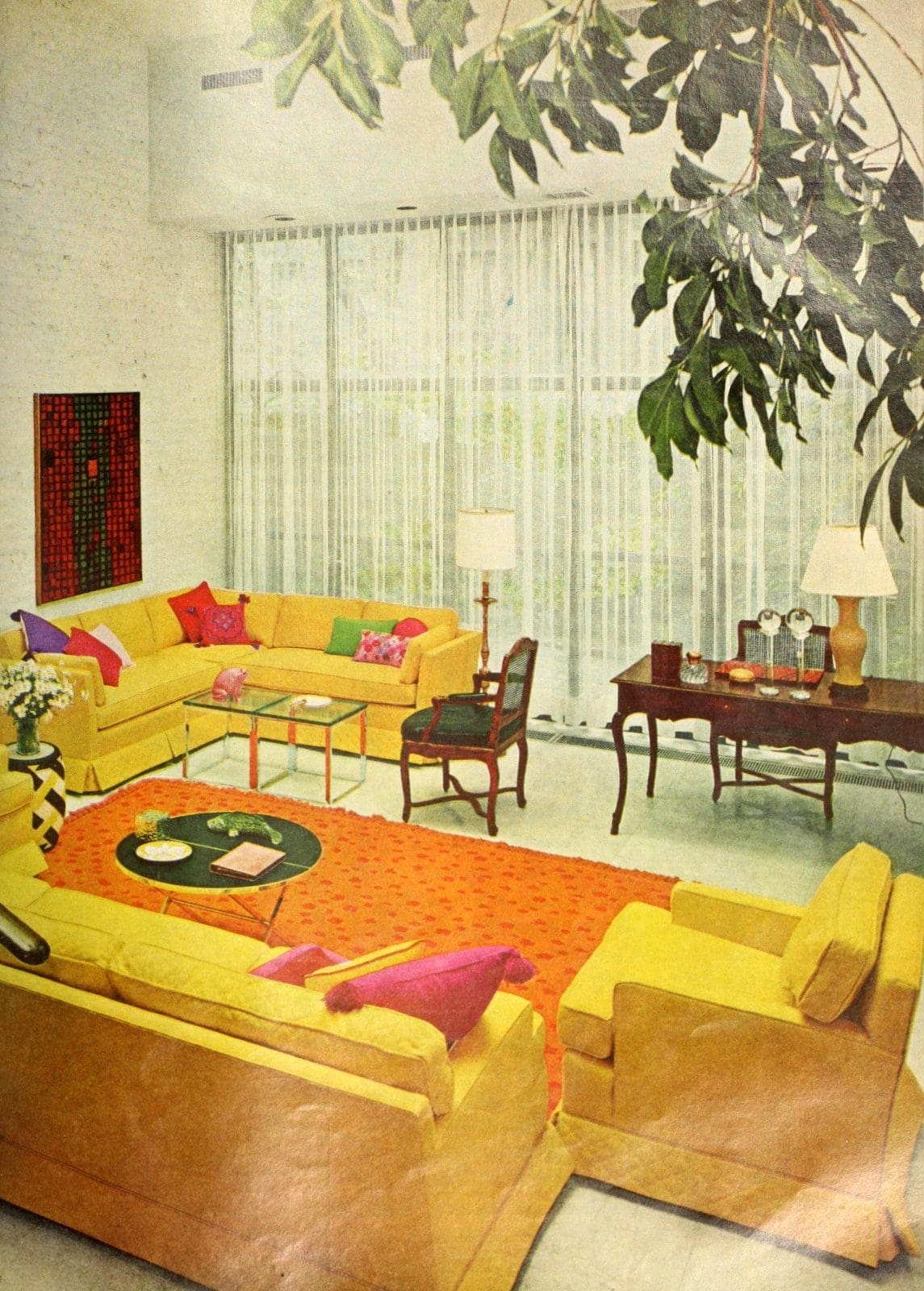 Bright yellow sofas in vintage 1960s living room decor (1966)